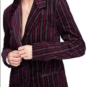 Free People Retro Stripe B-Line Button Blazer